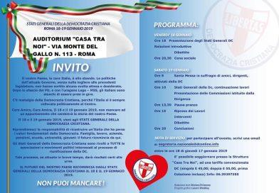 STATI GENERALI DELLA DEMOCRAZIA CRISTIANA – ROMA – 18-19 GENNAIO 2019